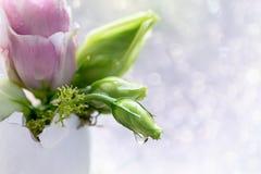 Eustomabloemen in een eierschaal op een lichte achtergrond Stock Fotografie