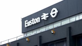 Euston station in London - LONDON, ENGLAND - DECEMBER 11, 2019. Euston station in London - LONDON, UNITED KINGDOM - DECEMBER 11, 2019 stock footage