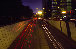 Euston Underpass. Underpass on Euston Road London at night Stock Photo