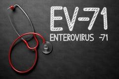 EV-71 on Chalkboard. 3D Illustration. Medical Concept: EV-71 - Enterovirus -71 Handwritten on Black Chalkboard. Medical Concept: EV-71 - Enterovirus -71 - Text Stock Image