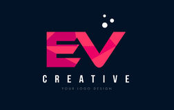 EV E V Letter Logo with Purple Low Poly Pink Triangles Concept royalty free illustration