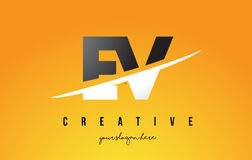 EV E V Letter Modern Logo Design with Yellow Background and Swoo. EV E V Letter Modern Logo Design with Swoosh Cutting the Middle Letters and Yellow Background Stock Photos