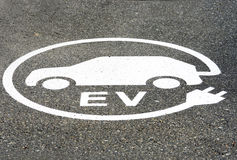 EV Electric Vehicle Charging Station Sign, Painted on the Ground, Parking Area Stock Photos