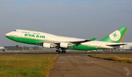 Eva Air airliner at take-off Stock Images