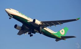 Eva Air airplane Stock Images