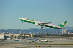 Eva Air Boeing B-777-36NER B-16720 parte Los Angeles Fotografia Stock