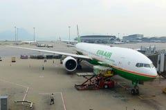 Eva Air Boeing 777 at Hong Kong Airport. Eva Air Boeing 777-36NER at Hong Kong International Airport Chek Lap Kok Airport Royalty Free Stock Photography