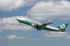 EVA Air Cargo jet airborne. royalty free stock photography