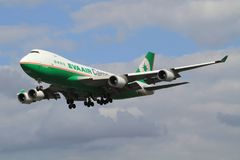 Eva Air. Heathrow/England August 10, 2012: Boeing 747 from Eva Air landing at Heathrow/Airport Stock Images