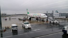 EVA Air Hello Kitty Aircraft Lizenzfreie Stockbilder