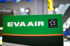 Eva Air logo signboard at check-in counter Stock Images