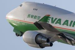 EVA Airways EVA Air Cargo Boeing 747 aerei del carico che decollano dall'aeroporto internazionale di Los Angeles Immagine Stock Libera da Diritti