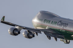 EVA Airways EVA Air Cargo Boeing 747 cargo aircraft taking off from Los Angeles International Airport. Royalty Free Stock Photo