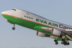 EVA Airways EVA Air Cargo Boeing 747 cargo aircraft taking off from Los Angeles International Airport. Los Angeles, California, USA - March 10, 2010: EVA royalty free stock photography