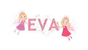 Eva female name with cute fairy tale. Background Stock Images