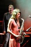 Eva Fernandez Group (banda de jazz) se realiza en el club de Luz de Gas Fotos de archivo libres de regalías