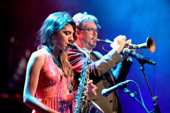Eva Fernandez Group (jazz band) performs at Luz de Gas club. BARCELONA - APR 16: Eva Fernandez Group (jazz band) performs at Luz de Gas club on April 16, 2015 in royalty free stock photography