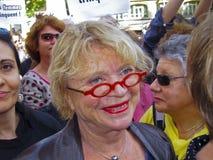 Eva Joly, Partido Verde, en la demostración feminista, Foto de archivo libre de regalías
