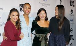 Eva Longoria, Zoe Saldana, Gina Rodriguez and Rosario Dawson. At the Eva Longoria Foundation Dinner Gala held at the Four Seasons Hotel in Beverly Hills, USA on stock images