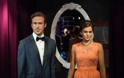 Eva Mendes och Ryan Gosling, vaxskulptur, madam Tussaud royaltyfria bilder