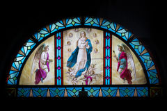 stained glass, virgin Mary and angels Royalty Free Stock Photos