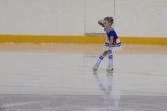 Eva Vilt de Rússia executa o programa de patinagem livre das meninas de prata da classe II Foto de Stock Royalty Free