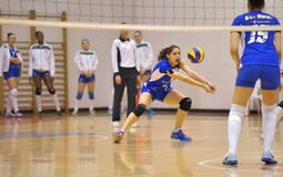 Eva Yaneva volleyball player of CSM Bucharest, receives during the match with ACS Penicilina Iasi Stock Images
