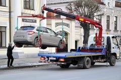 Evacuação do carro após o specialtransport da viagem Imagens de Stock