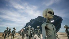 Evacuan a los extranjeros de una nave espacial caida y ardiendo representación 3d