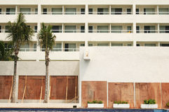 Evacuated Hotel with Boarded Windows Royalty Free Stock Image