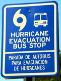 Evacuation Bus Stop. CHARLESTON SC USA JUNE 27 2016: Blue signs that state Hurricane Evacuation Bus Stop. The signs will be posted for residents who don't have Royalty Free Stock Images