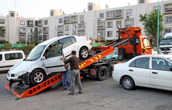 Evacuation of the car after the accident Stock Image