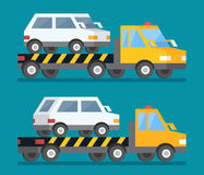 Evacuation car, road assistance service help. Evacuator tow track. Flat design vector illustration. Evacuation car, road assistance service help. Evacuator tow Royalty Free Stock Image