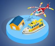 Evacuation concept banner, isometric style. Evacuation concept banner. Isometric banner of evacuation vector concept for web, giftcard and postcard stock illustration