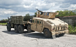 Evacuation damaged in combat armored car Stock Photography