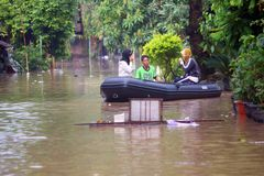 Evacuation of the flood victims Royalty Free Stock Images