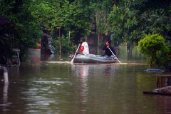 Evacuation of the flood victims Stock Images