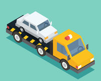 Evacuation isometric car, road assistance service help. Evacuator tow track. Flat design vector illustration. Royalty Free Stock Images