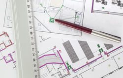 Evacuation plan. A scheme of a industry evacuation plan Stock Images