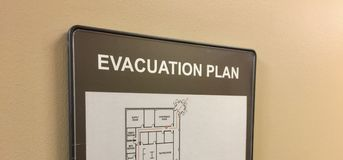 Evacuation Plan for Home or Office. An evacuation plan details the quickest exit from a home building or structure that is unsafe to be occupied Royalty Free Stock Photo