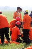 Evacuation. Rescuer was practicing evacuation at a field in Boyolali, Central Java, Indonesia Royalty Free Stock Photos