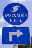 Evacuation Route Sign. S are a common sight in the south and show the best routes for escape when hurricanes are approaching Royalty Free Stock Photos
