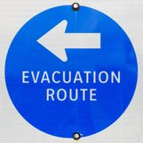 Evacuation Route Sign. Showing the way out of the town of Chesapeake Beach, Maryland USA in case of a local emergency Royalty Free Stock Photo