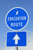 Evacuation Route Sign. A highway sign marking Hurricane Evacuation Route Royalty Free Stock Images