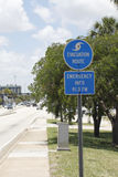 Evacuation Route Sign in Fort Lauderdale, Florida Stock Photo