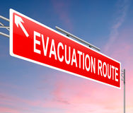 Evacuation route sign. Stock Images