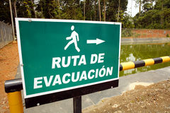Evacuation sign. On an oil well platform Royalty Free Stock Photography