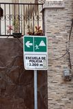 Evacuation sign. Volcanic eruption evacuation sign in Banos, Ecuador royalty free stock image