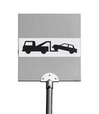 Evacuation on tow truck. Road sign isolated on white Royalty Free Stock Photo
