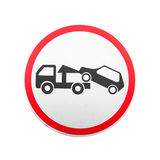 Evacuation on tow truck. Round road sign isolated Royalty Free Stock Photography